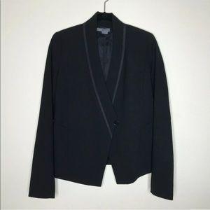 Vince Black Asymmetrical One Button Wool Blazer